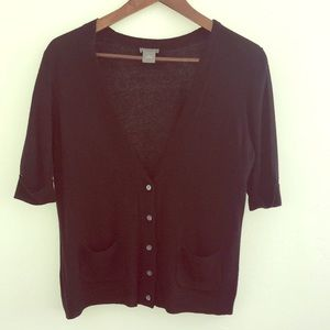 Ann Taylor Little Black Cardigan Short Sleeve Sz M